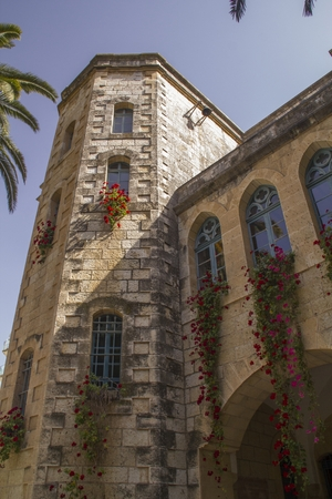 crusaders: The Benedictine monastery in Abu Ghosh,built by the Crusaders in the 12th century on top of Roman ruins in the center of the village of Abu Ghosh, Israel. Stock Photo