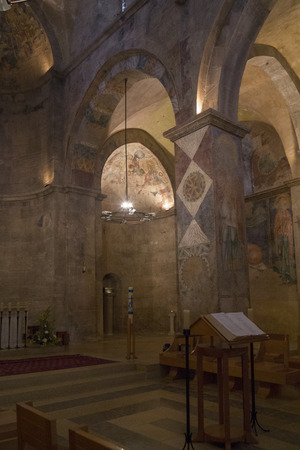 crusaders: Church interior with Crusader-era frescoes fragment in the Benedictine monastery in Abu Ghosh,built by the Crusaders in the 12th century on top of Roman ruins in the center of the village of Abu Ghosh, Israel.