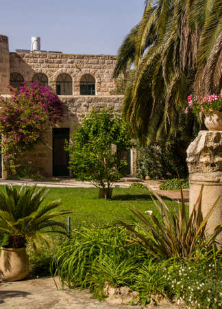 holyland: The Benedictine monastery in Abu Ghosh,built by the Crusaders in the 12th century on top of Roman ruins in the center of the village of Abu Ghosh, Israel. Stock Photo