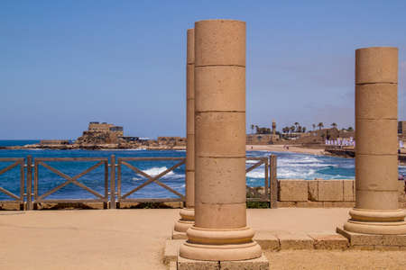 Herods Palace ruins in Caesarea-Mediterranean coast of Israel Editorial