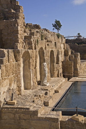 onwards: Ancient villa ruins in Caesarea Palaestina from 133 AD onwards, was a city and harbor built by Herod the Great about 25-13 BC. Today, its ruins lie on the Mediterranean coast of Israel
