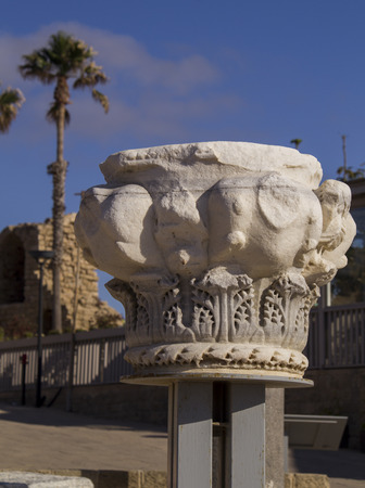 onwards: Marble column fragment in Caesarea Maritima Caesarea Palaestina from 133 AD onwards, was a city and harbor built by Herod the Great about 25-13 BC. Today, its ruins lie on the Mediterranean coast of Israel