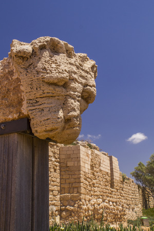 onwards: Lions head - Ancient ruins fragment in Caesarea Maritima Caesarea Palaestina from 133 AD onwards, was a city and harbor built by Herod the Great about 25-13 BC.Today, its ruins lie on the Mediterranean coast of Israel