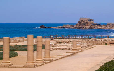 onwards: Herods Port And Palace ruins in Caesarea Maritima (Greek: παράλιος Καισάρεια), called Caesarea Palaestina from 133 AD onwards, was a city and harbor built by Herod the Great about 25–13 BC. Today, its ruins lie on the Mediterranean coas