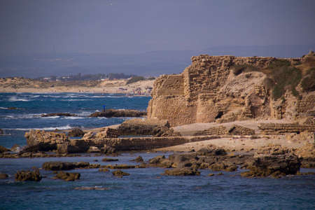 onwards: Panorama of Port ruins in Caesarea Maritima , called Caesarea Palaestina from 133 AD onwards, was a city and harbor built by Herod the Great about 25–13 BC. Today, its ruins lie on the Mediterranean coast of Israel