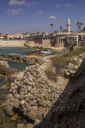onwards: Ancient Port ruins in Caesarea. Mediterranean coast of Israel.Caesarea Maritima (Greek: ???????? ?????????), called Caesarea Palaestina from 133 AD onwards, was a city and harbor built by Herod the Great