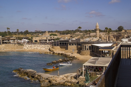 Ancient Port ruins in Caesarea. Mediterranean coast of Israel. Editorial