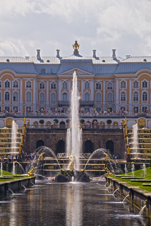 petergof: PETERHOF, RUSSIA - July 25, 2016: Grand Peterhof Palace, the Grand Cascade and Samson Fountain. Peterhof Palace included in the UNESCO World Heritage List. Petergof, Saint Petersburg, Russia