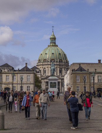 COPENHAGEN, DENMARK - SEPTEMBER 2: Tourists  in front of Frederiks Church, popularly known as The Marble Church,Copenhagen, Denmark. on September 2, 2016 in Copenhagen, Denmark. Editorial