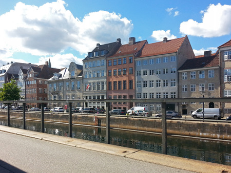 Old Buildings on Canal Embarkment  in Copenhagen, Denmark Europe