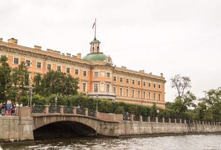 Embankment of the river Moika and St. Michaels Castle, also called Mikhailovsky Castle or Engineers Castle, in Saint-Petersburg, Russia Editorial