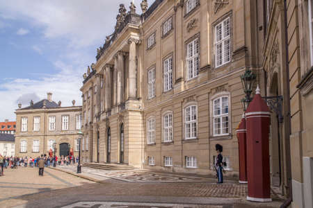 COPENHAGEN, DENMARK - SEPTEMBER 2: Amalienborg is the residence of the Danish Royal Family. The palace is octagonal with a statue of King Frederik V in centre.on September 2, 2016 in Copenhagen, Denmark.