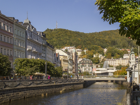 Karlovy Vary,Czech Republic - October 01: Tepla river Promenade on  October 01, 2015 in Karlovy Vary. Karlovy Vary historically famous for its hot springs (13 main springs, about 300 smaller) Stock Photo