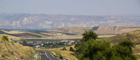 Panoramic View of Galilee and Golan heights in summer, Northern Israel.