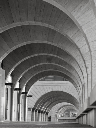 Contemporary Architecture: Archway Arcade Modern building,architecture photography in black and white.