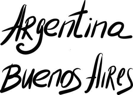 buenos aires: Argentinien, Buenos Aires, Hand-mit Buchstaben Land und Kapital, handgemachte Kalligraphie, Vektor- Illustration