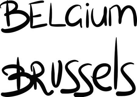 brussels: Belgium, Brussels, hand-lettered Country and Capital, handmade calligraphy, vector