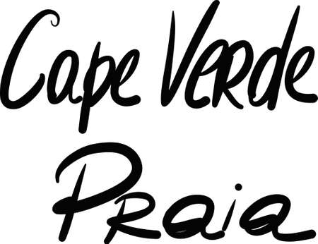 verde: Cape Verde, hand-lettered Country and Capital, handmade calligraphy, vector Illustration