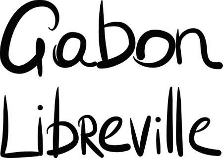 gabon: Gabon, Libreville< hand-lettered Country and Capital, handmade calligraphy, vector