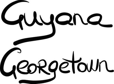 georgetown: Guyana, Georgetown, hand-lettered Country and Capital, handmade calligraphy, vector Illustration
