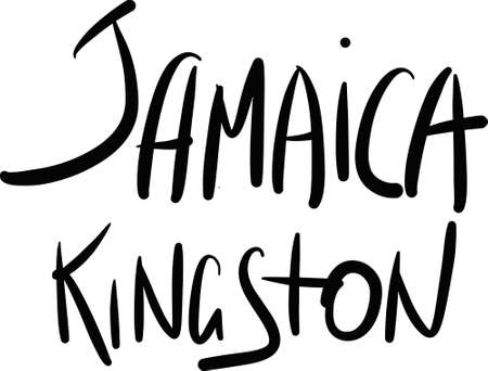 kingston: Jamaica, Kingston, hand-lettered Country and Capital, handmade calligraphy, vector