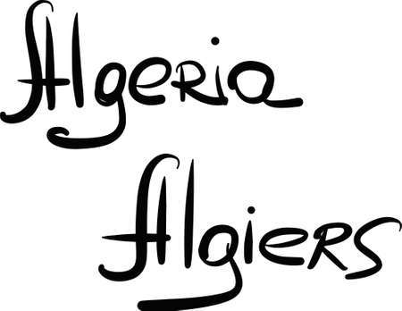 algiers: Algeria, Algiers, hand-lettered Country and Capital, handmade calligraphy, vector