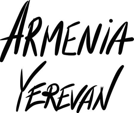 yerevan: Armenia, Yerevan, hand-lettered Country and Capital, handmade calligraphy, vector
