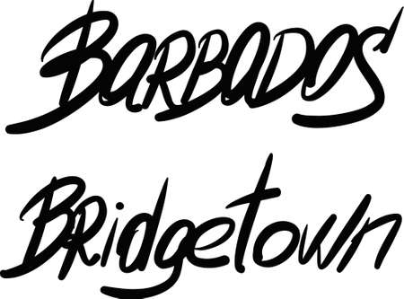 barbados: Barbados, Bridgetown, hand-lettered Country and Capital, handmade calligraphy, vector