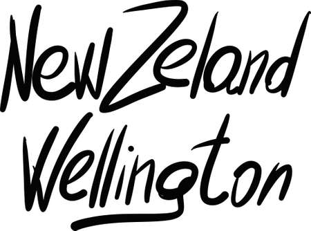 new zeland: New Zeland, Wellington, hand-lettered Country and Capital, handmade calligraphy, vector