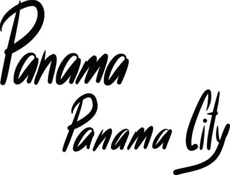panama city: Panama, Panama City, hand-lettered Country and Capital, handmade calligraphy, vector Illustration