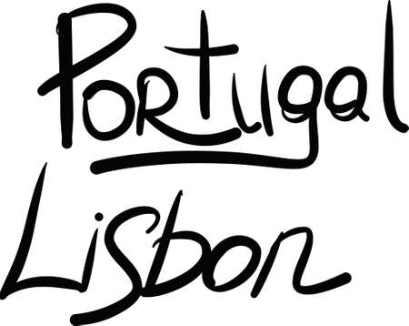 lisbon: Portugal, Lisbon, hand-lettered Country and Capital, handmade calligraphy, vector