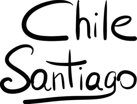 santiago: Chile, Santiago, hand-lettered Country and Capital, handmade calligraphy, vector