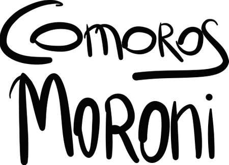 comoros: Comoros, Moroni, hand-lettered Country and Capital, handmade calligraphy, vector