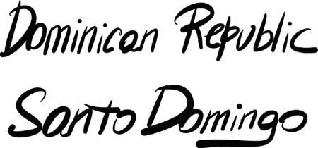 domingo: Dominican Republic, Santo Domingo, hand-lettered Country and Capital, handmade calligraphy, vector