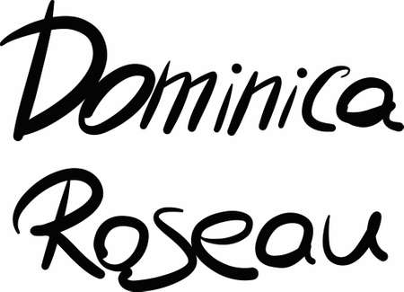 dominica: Dominica, Roseau, hand-lettered Country and Capital, handmade calligraphy, vector
