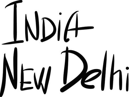 India, New Delhi, hand-lettered Country and Capital, handmade calligraphy, vector