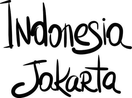 jakarta: Indonesia, Jakarta, hand-lettered Country and Capital, handmade calligraphy, vector