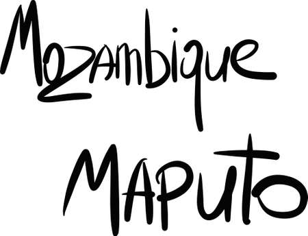 mozambique: Mozambique, Maputo, hand-lettered Country and Capital, handmade calligraphy, vector Illustration