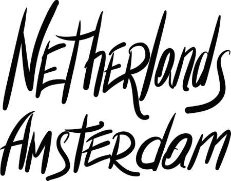 amsterdam: Netherlands, Amsterdam, hand-lettered Country and Capital, handmade calligraphy, vector Illustration