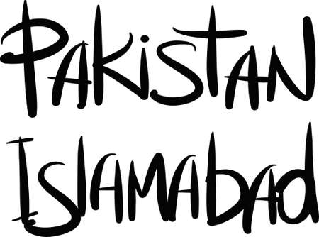 islamabad: Pakistan, Islamabad, hand-lettered Country and Capital, handmade calligraphy, vector Illustration