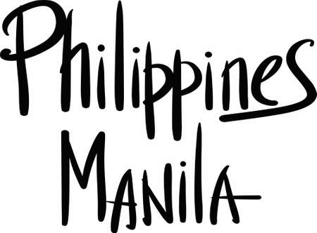 manila: Philippines, Manila, hand-lettered Country and Capital, handmade calligraphy, vector