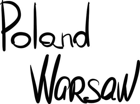warsaw: Poland, Warsaw, hand-lettered Country and Capital, handmade calligraphy, vector