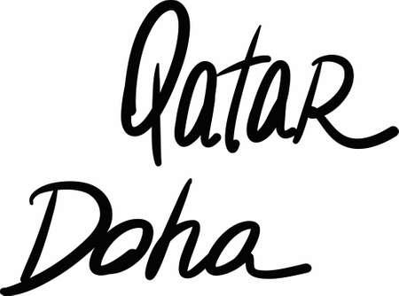 doha: Qatar, Doha, hand-lettered Country and Capital, handmade calligraphy, vector