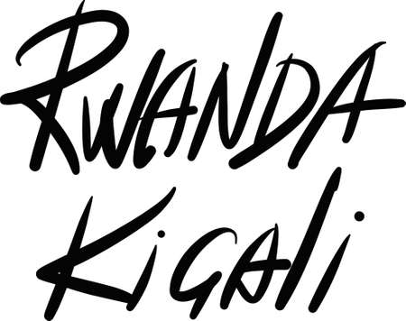 kigali: Rwanda, Kigali, hand-lettered Country and Capital, handmade calligraphy, vector Illustration