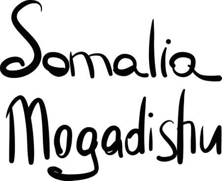 Somalia, Mogadishu, hand-lettered Country and Capital, handmade calligraphy, vector Illustration