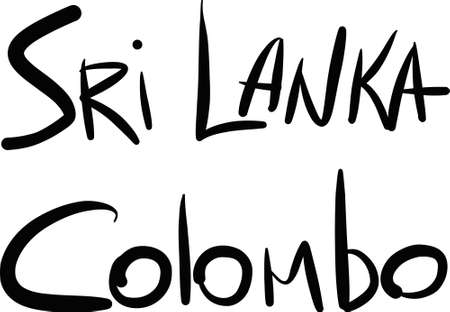 colombo: Sri Lanka, Colombo, hand-lettered Country and Capital, handmade calligraphy, vector Illustration