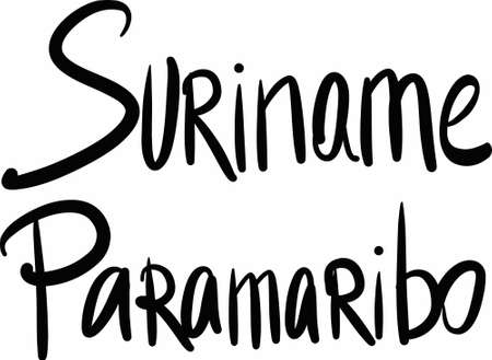 suriname: Suriname, Paramaribo,  hand-lettered Country and Capital, handmade calligraphy, vector