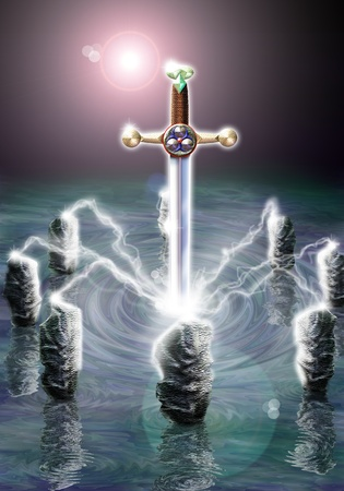 merlin: Photoshop aer�grafo ilustraci�n inspirada en la leyenda del Rey Arturo. N�mero 1 de una serie de cinco im�genes de producci�n original para un libro.