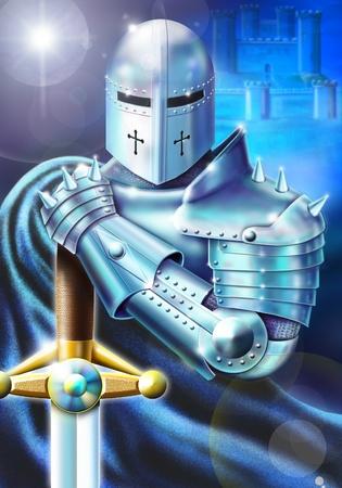 caballero medieval: Photoshop aerógrafo ilustración inspirada en la leyenda del Rey Arturo. Número 4 de una serie de cinco imágenes de producción original para un libro.