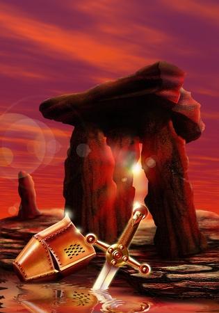 merlin: Photoshop aer�grafo Ilustraci�n inspirada en la leyenda del rey Arturo. N�mero 5 de una serie de 5 im�genes producido originalmente para un libro.
